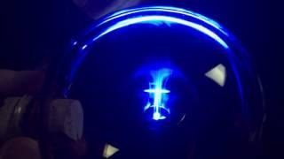 4 BLUE LEDS FEEDING the Magnet seen thru FERROSPHERE
