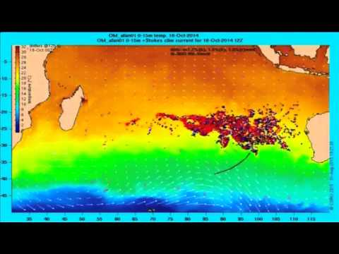 Ocean drift modeling showing potential path of MH370 debris