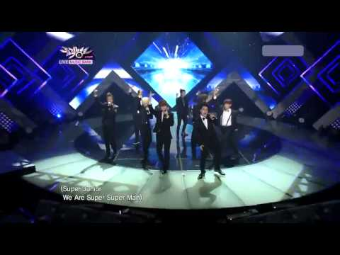 [hd] Superman + Mr.simple By Super Junior Comeback Stage Live music Bank August 5,2011 video