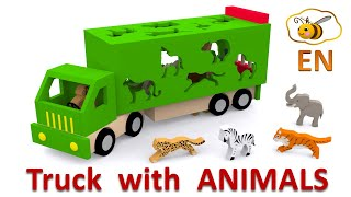 Trucks for children. Learn wild animals in English! Cartoons for babies 1 year