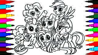 How to Draw MLP Friendship is Magic Coloring Drawing Pages Videos for Kids l Art l Colored PENS