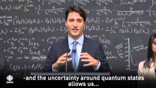 Justin Trudeau explains quantum computing with subtitle