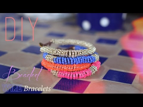 DIY : BRACELETS EN PERLES DE ROCAILLES SPIRALES - beaded wire bracelet (english subs).