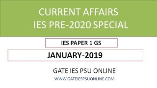 CURRENT AFFAIRS JANUARY 2019 IES PRE 2020 SPECIAL