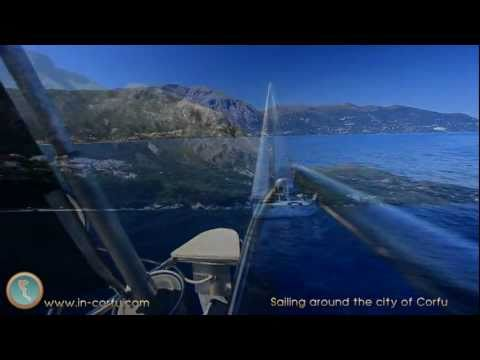 Sailing around the city of Corfu