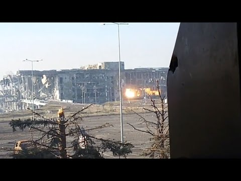 30.10.2014 Donetsk Airport. Cossacks grenade hit the new terminal.