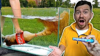EXPERIMENT: COCA COLA AND MENTOS UNDER WATER - Challenge
