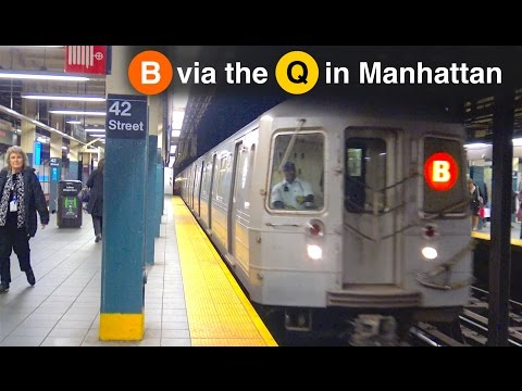 ⁴ᴷ B Train Rerouted Via the Q Line Arriving at 42nd St - Times Square