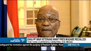 BREAKING NEWS: Zanu PF war veterans want Mugabe recalled