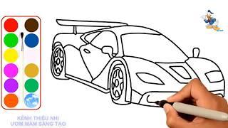 Bé học vẽ tranh tô màu xe chở đất và xe ô tô ♥ Tìm hiểu màu sắc nghệ thuật cho trẻ em