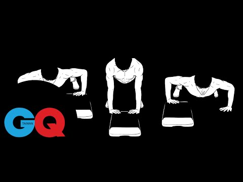 GQ active:循環練習第三組之二高低差移動式伏地挺身