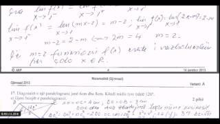 Matura 2013 matematike gjimnazi pyetjet 16 dhe 17 nga Fatmir Cela