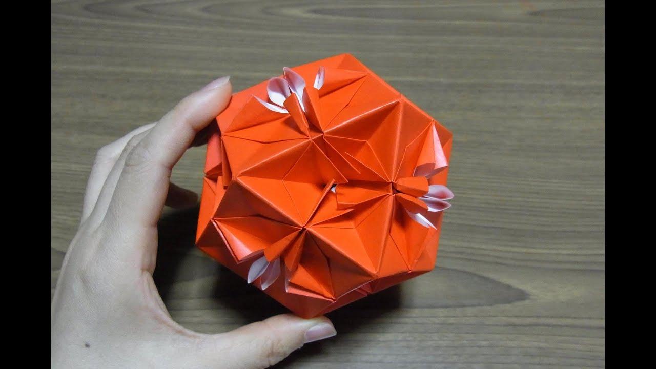origami おりがみ 花のくす玉の ...