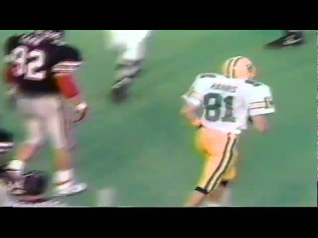 Oregon WR Ronnie Harris gets ripped to the ground after a catch vs. Texas Tech 9-14-91