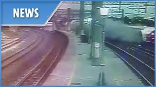 Taiwan train crash caught on CCTV