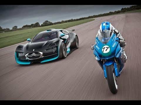 Bikes Vs Cars Race Electric car vs bike Citroen