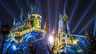 "FULL ""The Magic of Christmas at Hogwarts"" Harry Potter projection show, Universal Orlando"