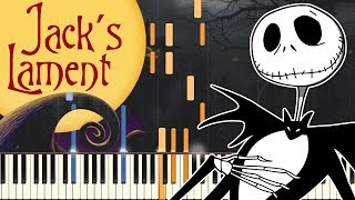 Piano Tutorial Jack 39 S Lament Tim Burton 39 S The Nightmare Before Christmas Easy Piano Synthesia