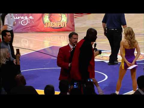 Will Ferrell escorts Shaq out of Staples!