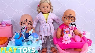 Baby Born Twin Dolls Bath Time and Dress up Play Toys!
