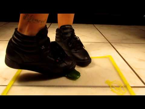 size 5 black Reebok Freestyles crushing jalapeno pepper