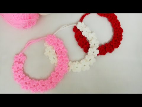 بندانه كروشيه بالورود crochet headband with flowers