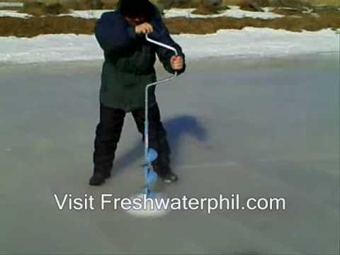 Drilling through ice with my Normark hand held ice auger