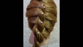 Прическа с плетением. Braided hairstyle for every day