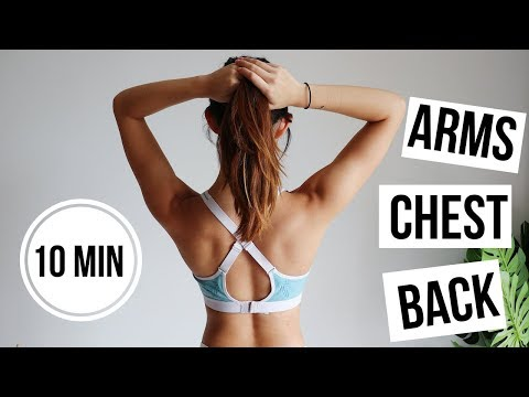 10 min Upper Body (Arms & Back) FAT BURN + TONING Workout | No Equipment