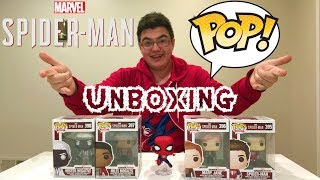 Spider-Man PS4 NEW Funko Pops Unboxing!!! Unmasked Spidey, MJ, Miles Morales, & Mr. Negative!!!