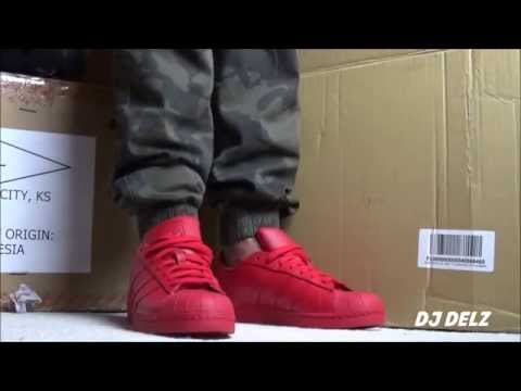 Pharrell x adidas Originals Superstar Red Supercolor Shoe Review + On Feet