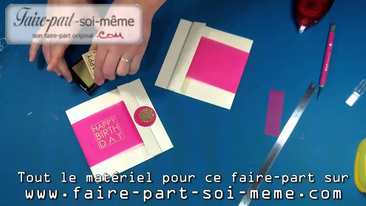 Carte d 39 invitation anniversaire girl youtube - Cadre photo original a faire soi meme ...