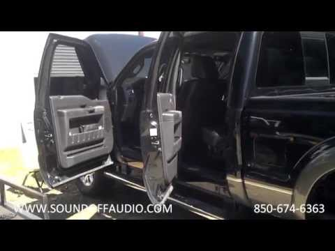 2011-2014 F250 Crew Cab Speaker Box Installed with Factory Subwoofer