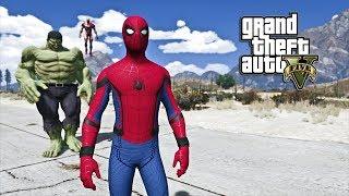 GTA 5 - SPIDER-MAN, IRONMAN, AND HULK VS THANOS (GTA 5 PC MODS)