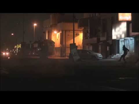 Bahrain : Riot Police Fire and Target A Protesters Directly With 56mm Tear Gas Projectile