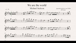WE ARE THE WORLD: Eb Inst (saxo alto, saxo barítono...) (partitura con playback)