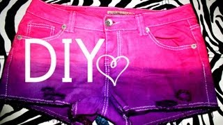 DIY Dip Dyed Ombre Shorts + Distressed, Studded Shorts!
