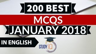 200 Best current affairs MCQ January 2018 (English) - IBPS PO/SSC CGL/UPSC/PCS/KVS/IAS/RBI/Railways