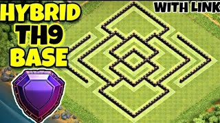 Best Th9 Hybrid Base Layout 2020 | Trophy Farming Base With Link | Clash Of Clan