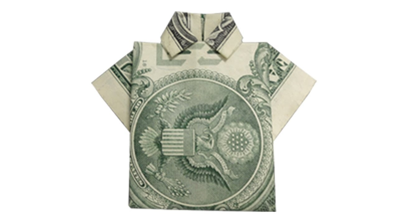 How to fold a money origami shirt youtube for How to make a shirt with money