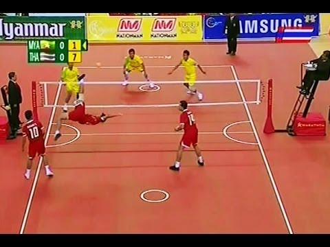 Myanmar - Thailand Sepaktakraw 27th Sea Games 2013 -men's Team video