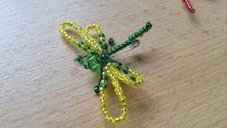Зеленая стрекоза из бисера. Beaded dragon-fly. Brooch. Брошь из бисера.