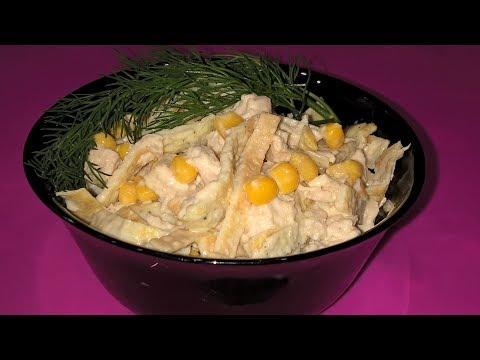 Салат с яичными блинчиками. Салат с курицей. Салат с яичными блинчиками и курицей.