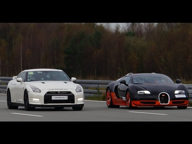 [4k] RACE Nissan GTR Alpha 12 vs Bugatti Veyron ... - YouTube