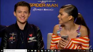 Full interview of spiderman homecoming cast Zendaya,Tom,Jacob,Laura