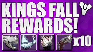 Destiny - KINGS FALL RAID REWARDS x10!!! Armour And Weapons Rewards! (Taken King Raid Weapons)