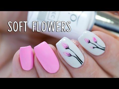 EASY GEL NAILS - Soft Flowers with Indigo Nails Arte Brillante - YouTube