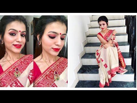 DURGA PUJA MAKEUP 2017 | DURGA PUJA MAKEUP TUTORIAL | Traditional Bengali Makeup | Nidhi Chaudhary