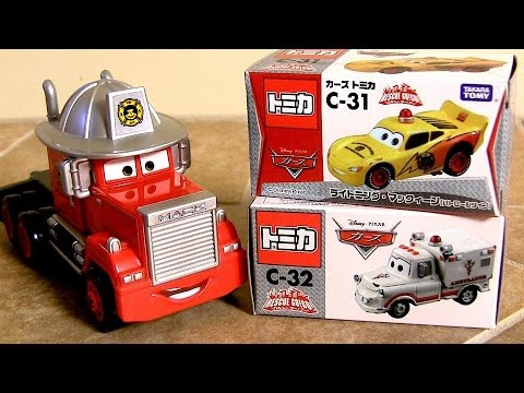 Patrol Lightning McQueen & Ambulance Mater Rescue-Go-Go Fire Department Mack Truck Hauler タカラトミー