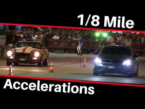 1/8 Mile Launches & Accelerations - Street cars in actions. Pure Sound!